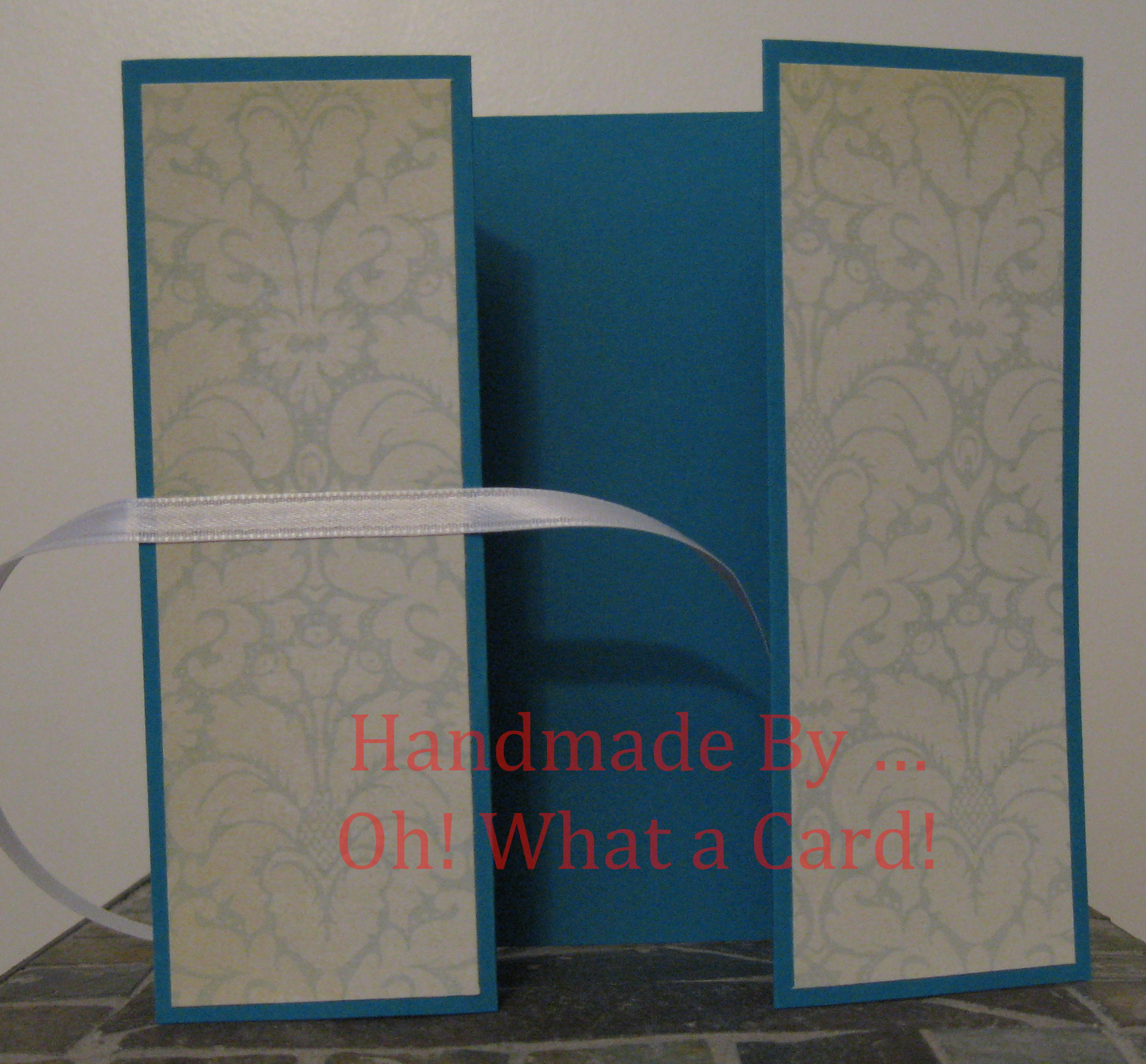 Turquoise & Light Blue Flowers Shutter-Fold Card