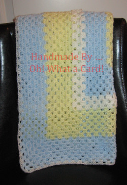White, Yellow & Blue Baby Blanket