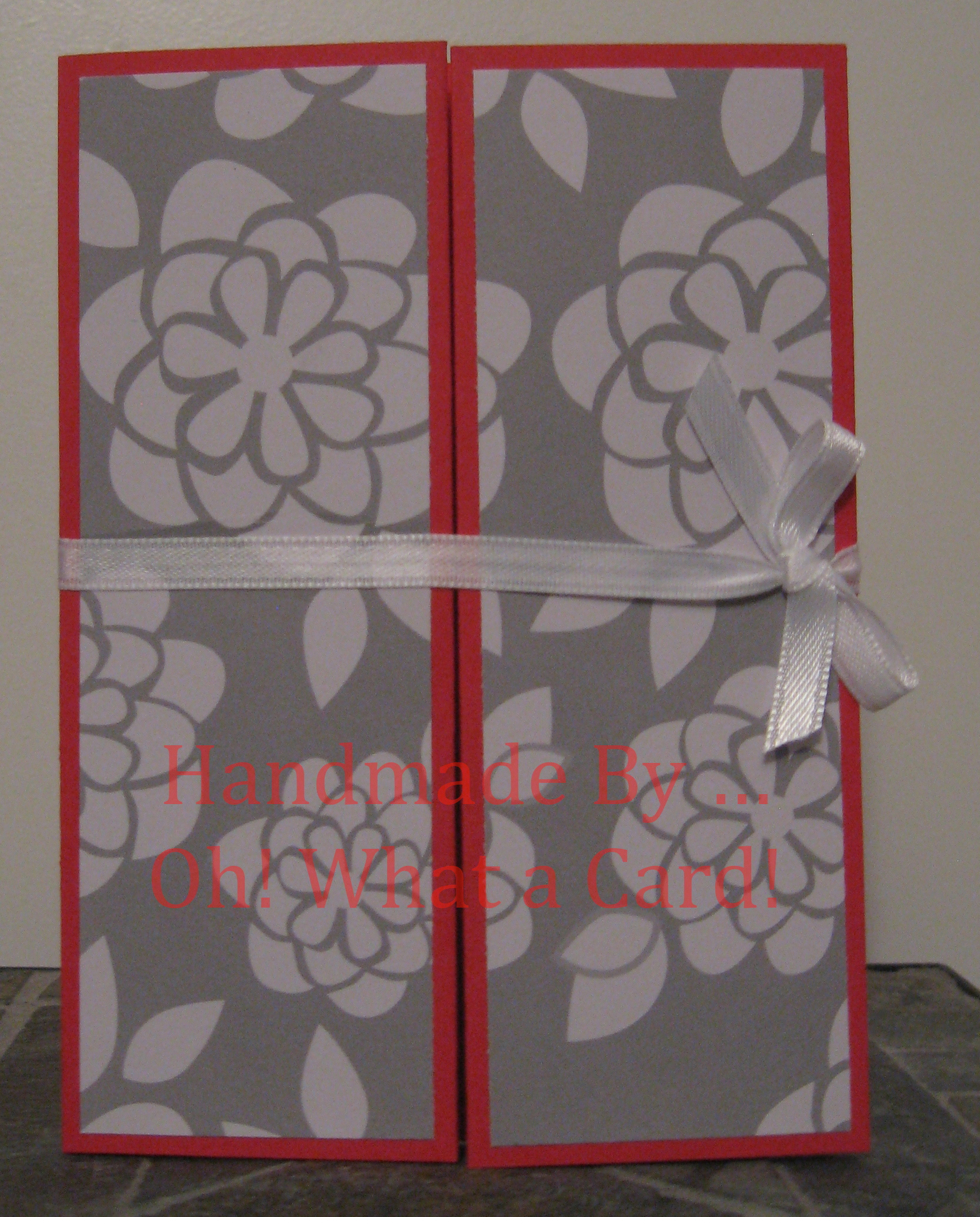 Red White Flowers Shutter-Fold Card