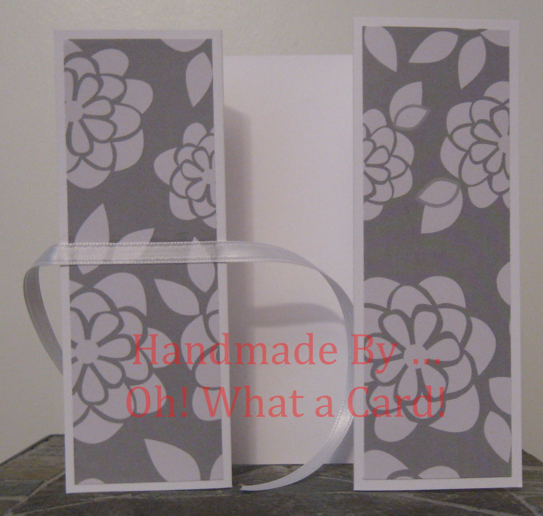 White Grey Flowers Shutter-Fold Card