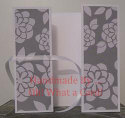 White Grey Flowers Shutter-Fold Card