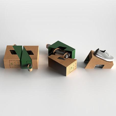 กล่องรองเท้าไร้พลาสติก บรรจุภัณฑ์หิ้วได้และใช้งานเป็นดิสเพลย์