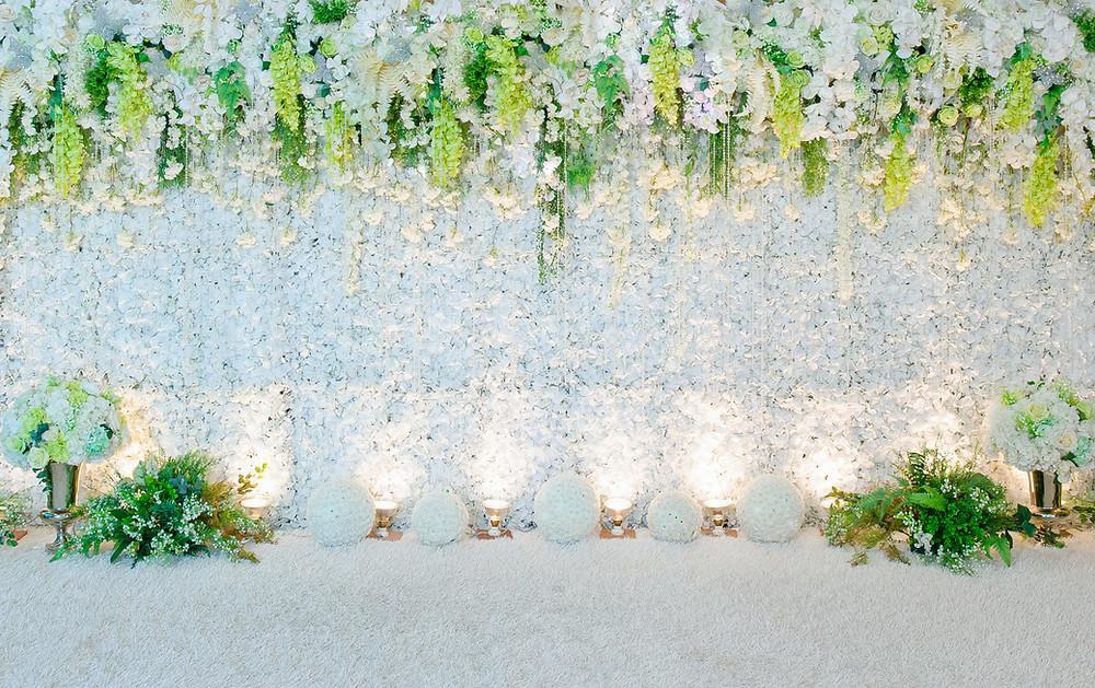Silk flowers overhead