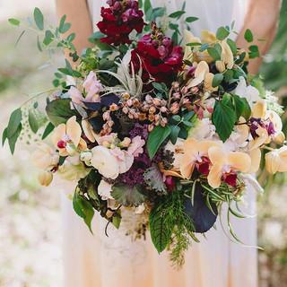Burgundy & Ivory wedding bouquet