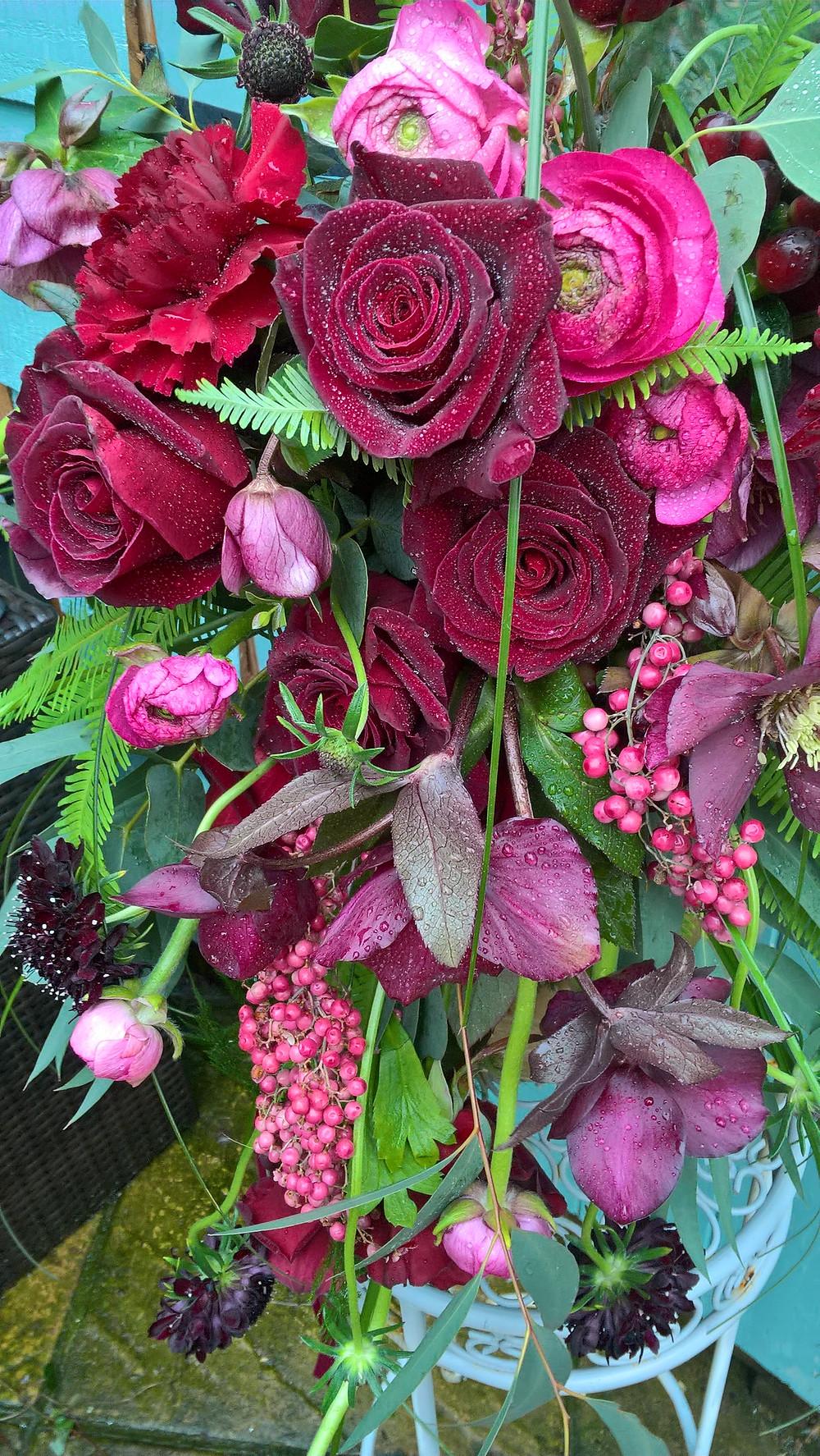 Freah red rose wedding bouquet