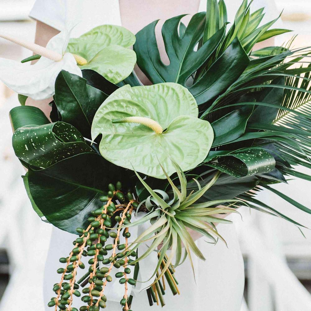 Monstera leaf wedding bouquet