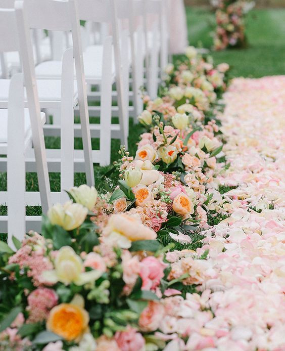 Flowers for the wedding aisle