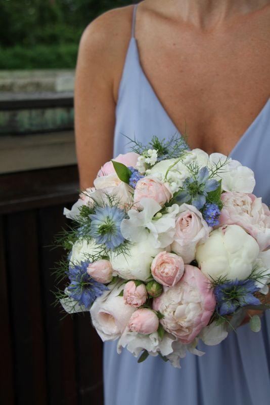 Blush rose white peony and nigella bouquet