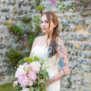 Pink peony cascade bouquet