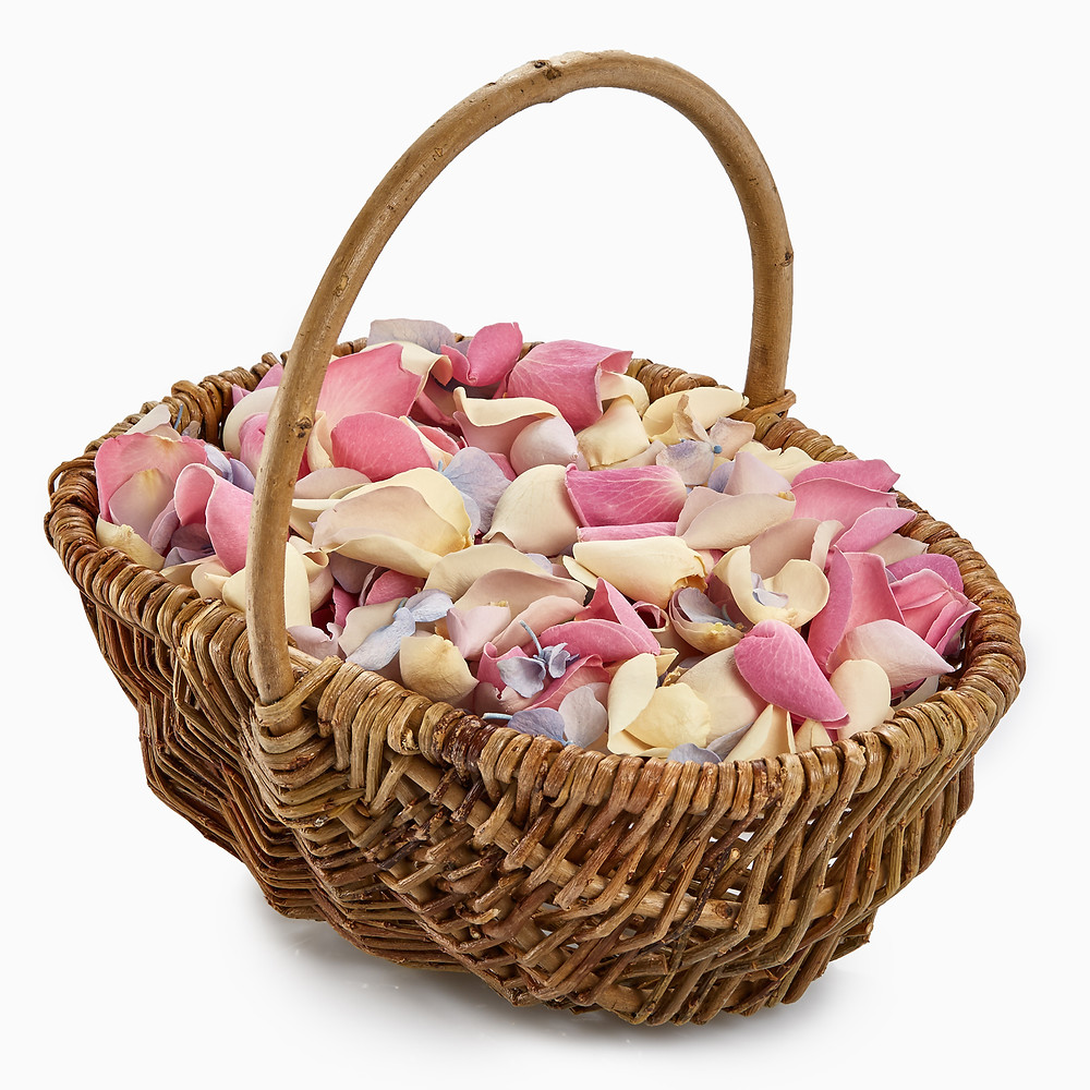 A basket of fresh rose petals