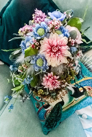 Vintage Victorian - Dahlia and Scabious bouquet