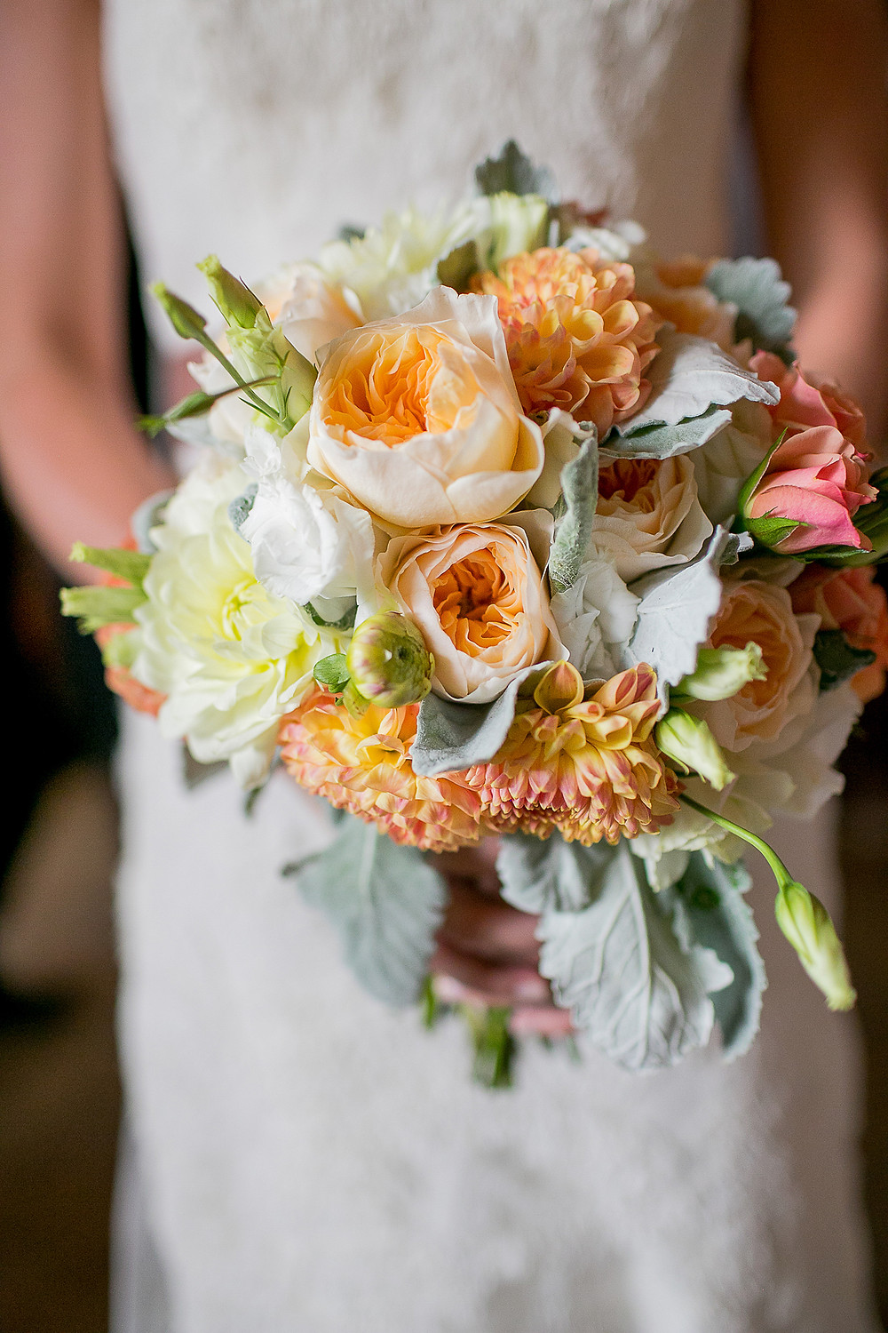 Juliet roses and dahlias wedding bouquet