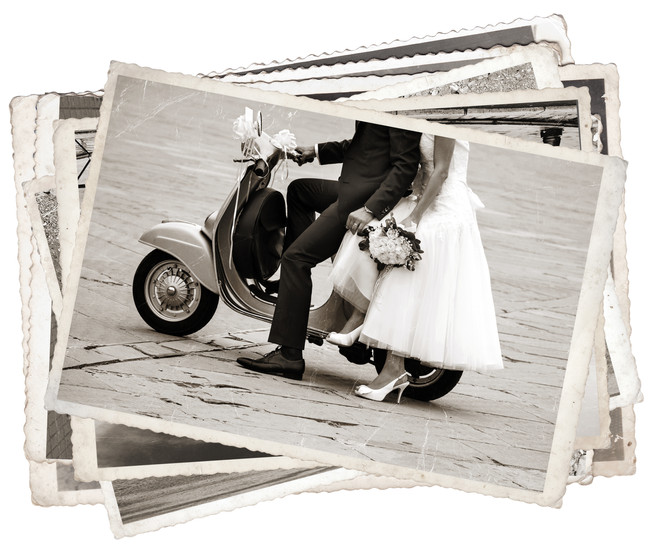 Vintage photos with Young newlywed just
