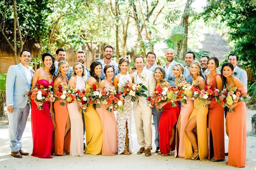 Orange and yellow bridesmaids dresses
