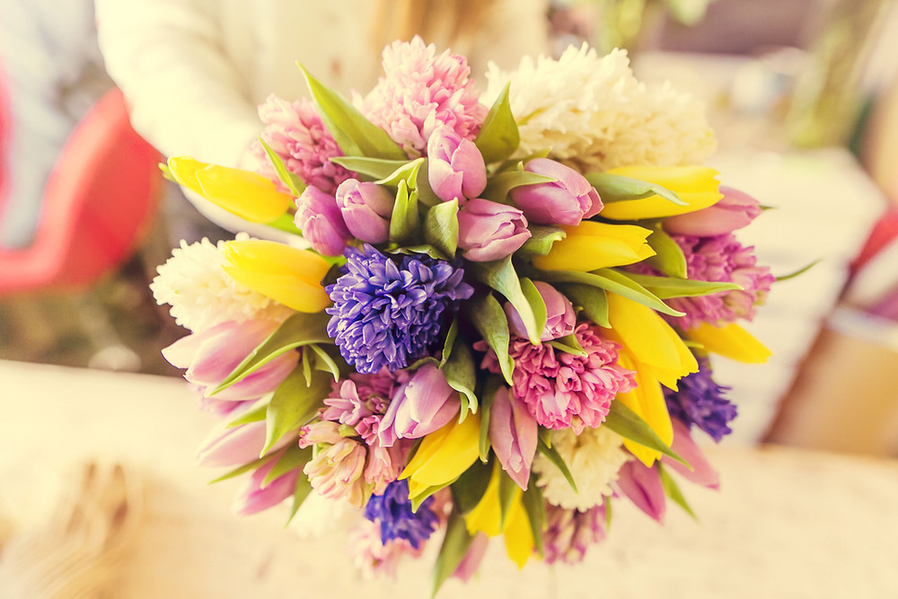 Tulips, hyacinths wedding bouquet
