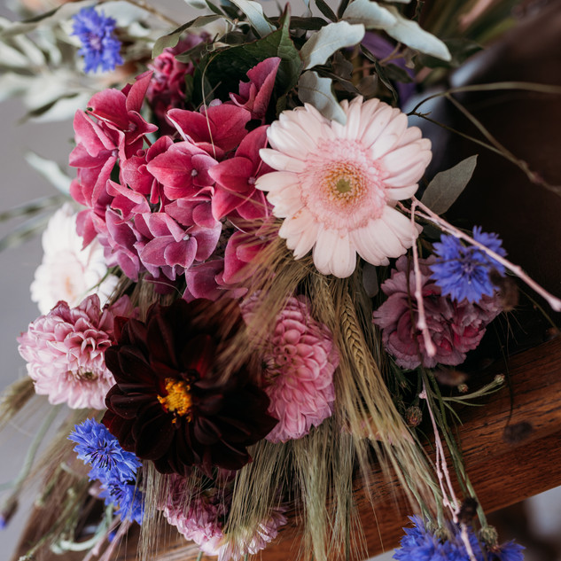 Wheat and Cosmos Bouquet