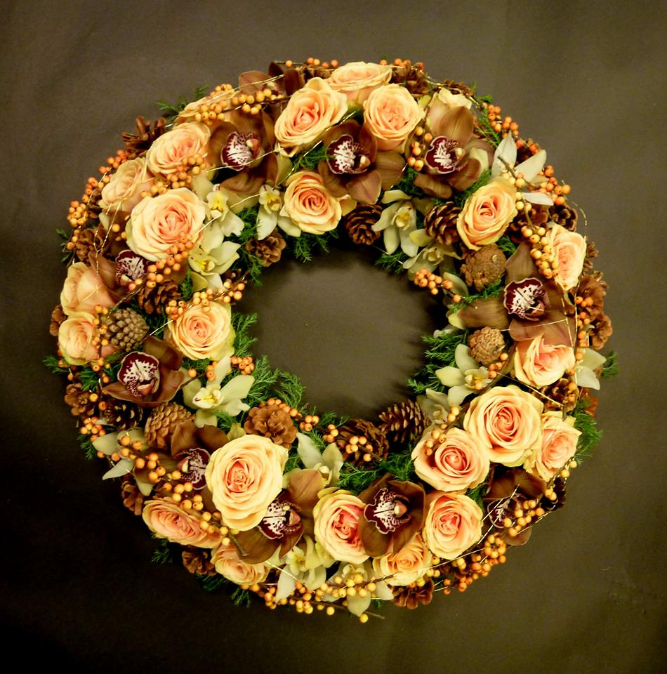 Orchid & Pinecone wreath