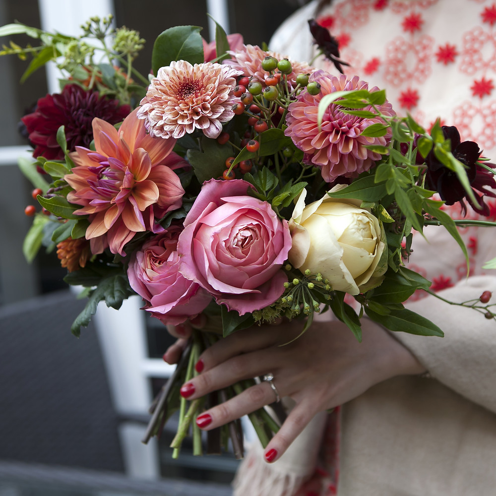 Pink and Peach Dahlia and rose wedding bouquet