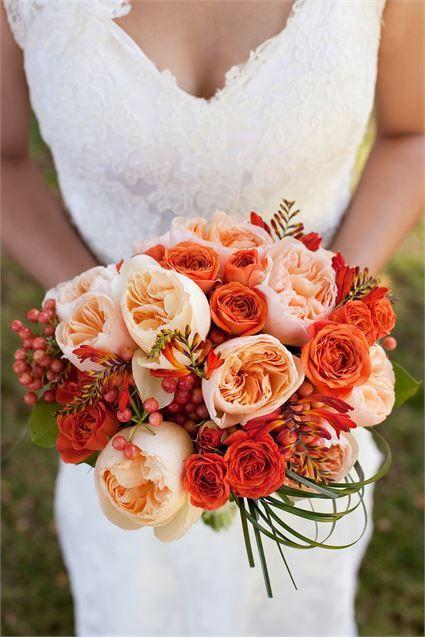 Orange and peach rose wedding bouquet