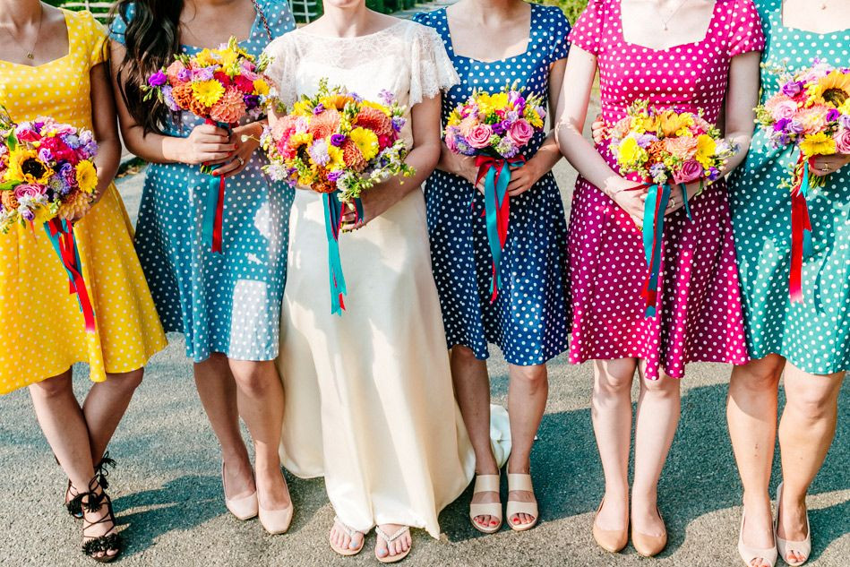 Colourfull bridesmaids dresses