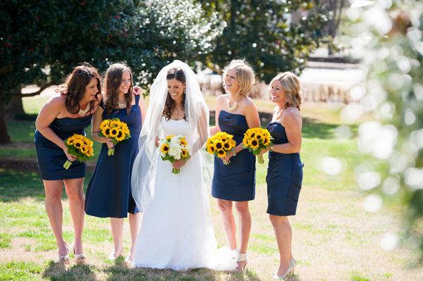 Bride with sunflower wedding