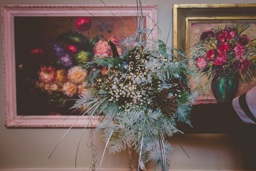 winter fern and berry wedding bouquet