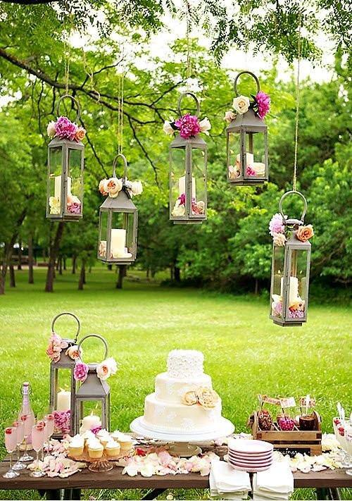hanging lanterns for a garden wedding