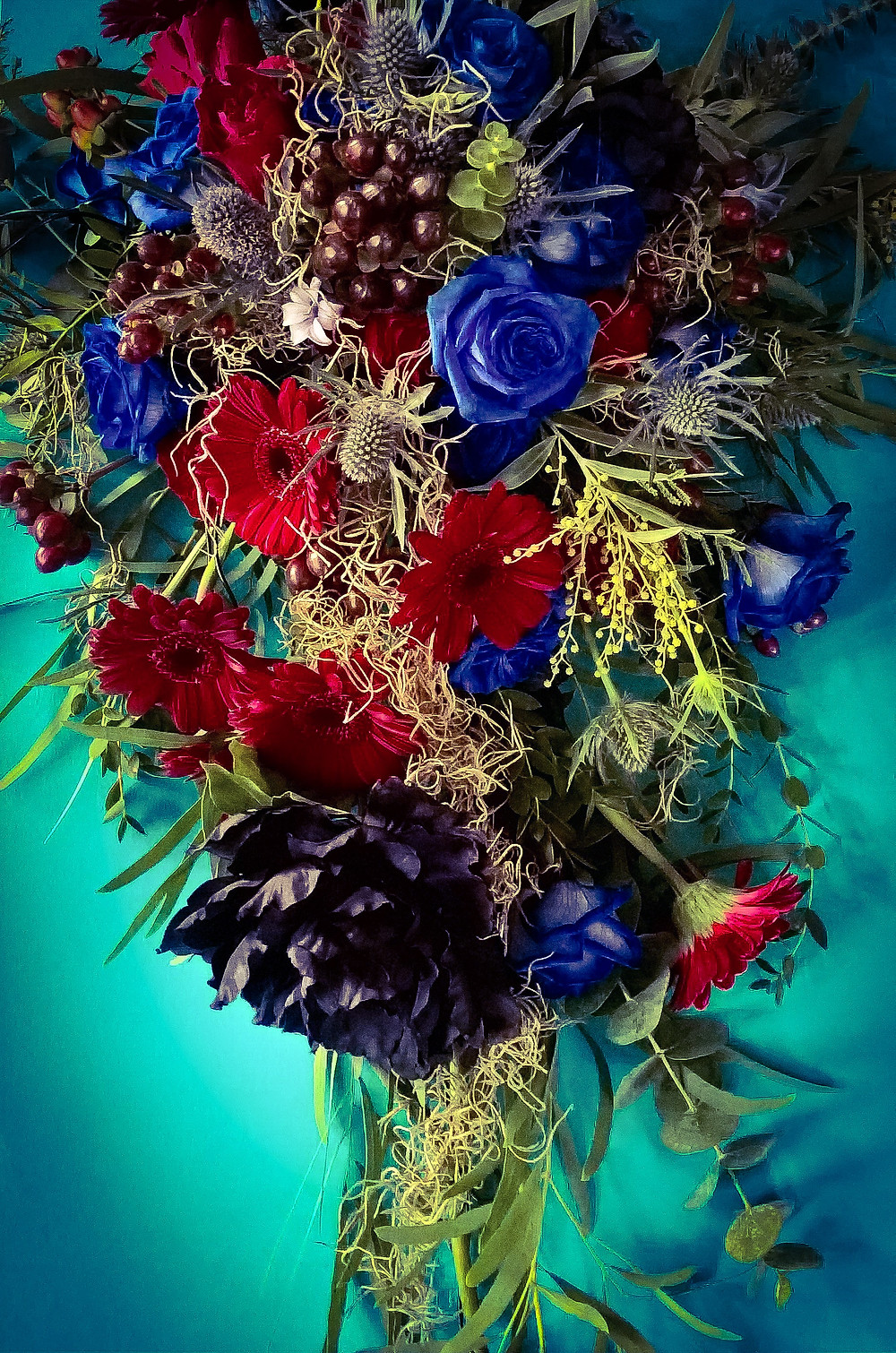 Gothic wedding bouquet blue red and grey