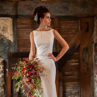 Long red rose cascade bouquet