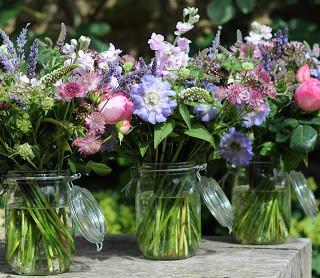 Kilner Jars filled with summer flowers