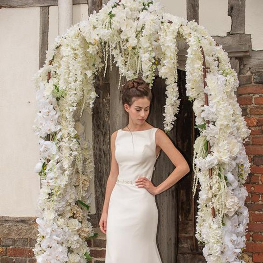White Faux Wisteria and Orchid Arch