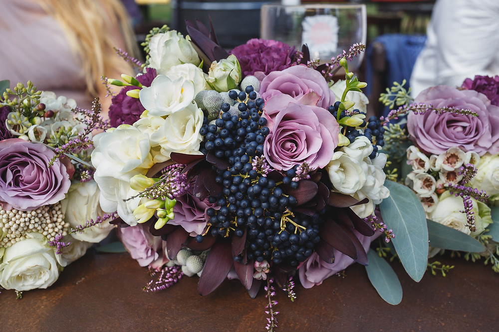 Lilac rose wedding bouquet