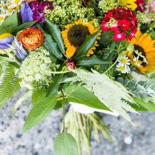 The bouquet colours close up