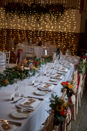 Top Table and decorated chairs