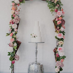 Faux Pink/ Cream Peony Arch