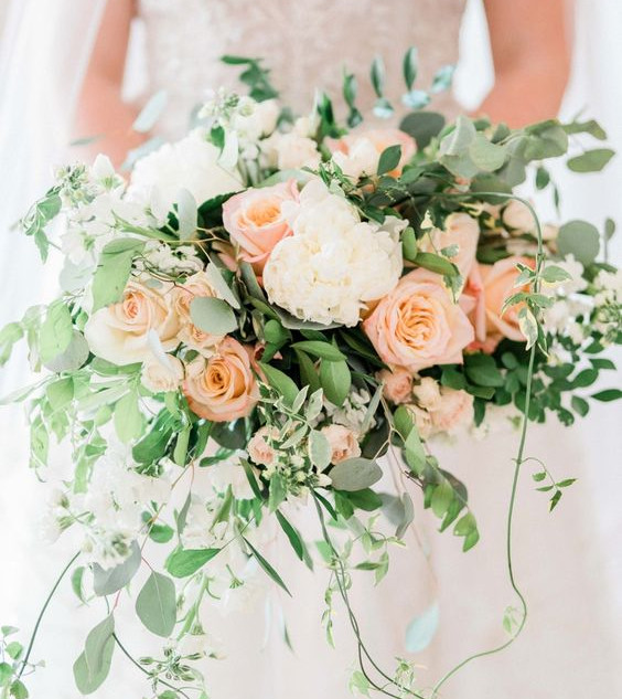 Pale peach & Ivory Wedding bouquet