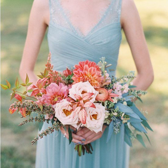 No 9 Coral & Blue bouquet