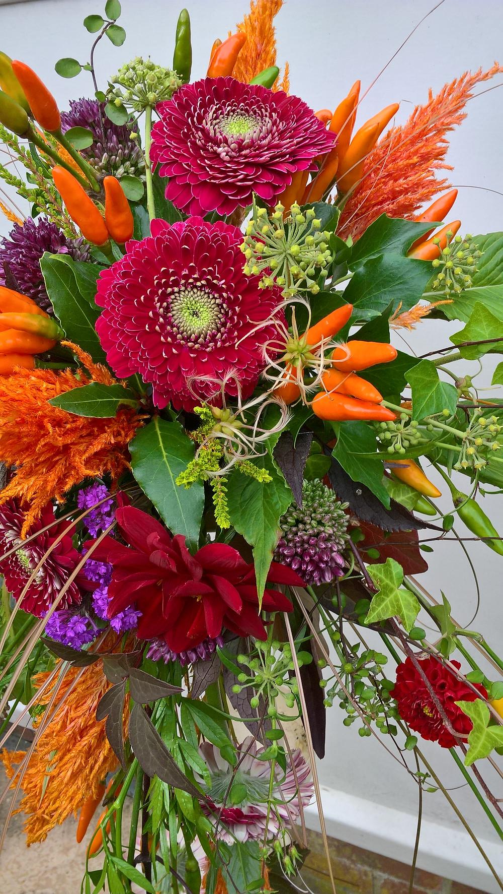 Bright red orange wedding bouquet