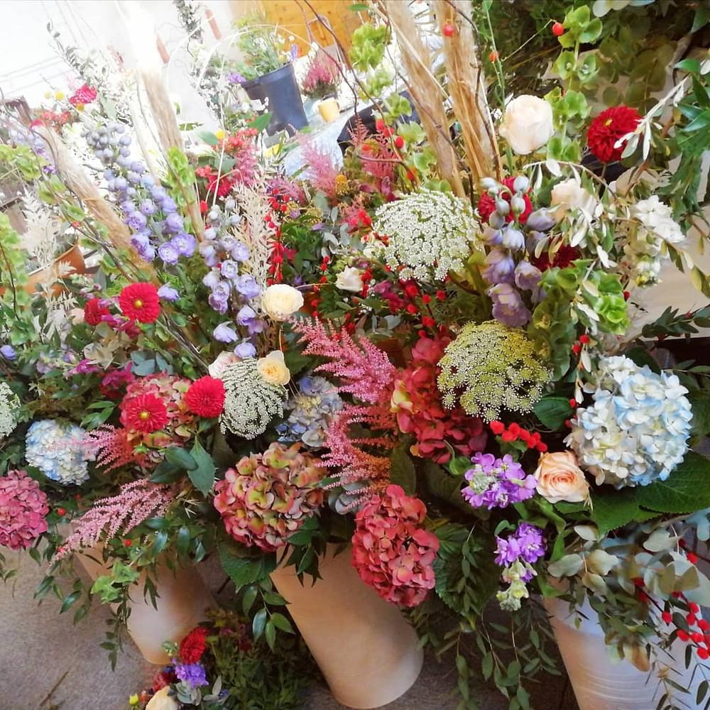 Milk churn with flower decoration