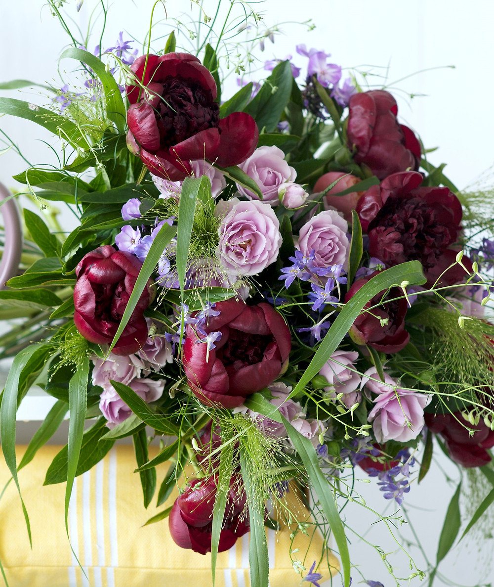 Burgundy peony wedding bouquet