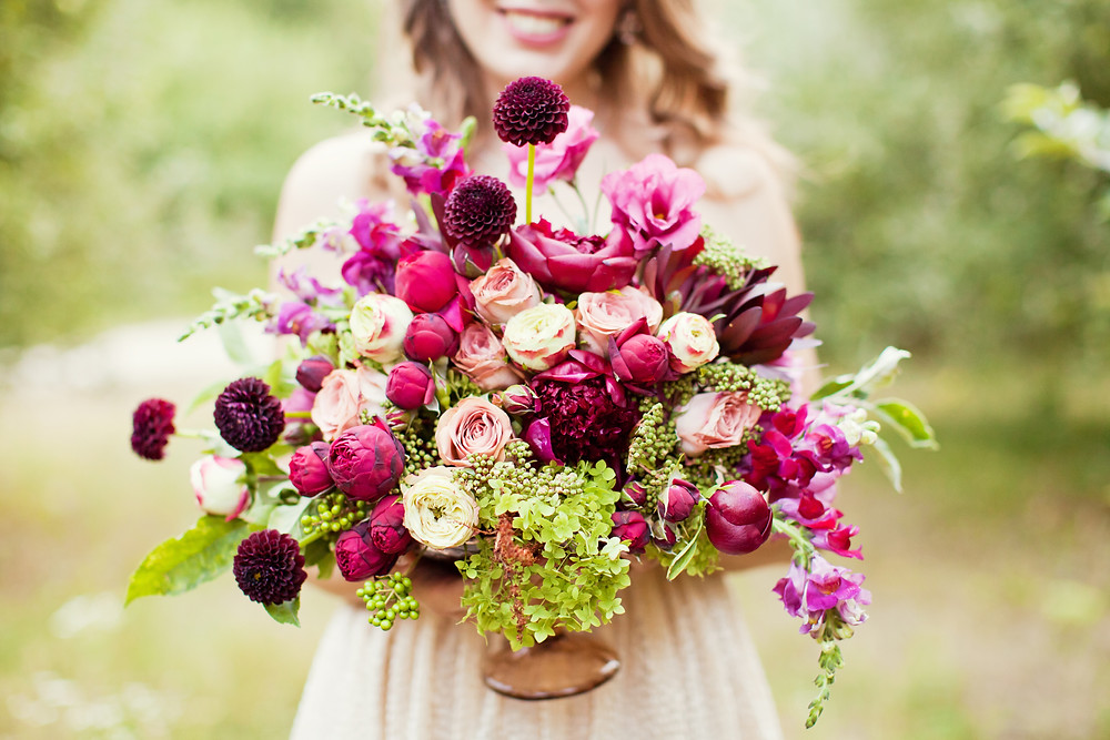 Roses Dahlia wedding bouquet