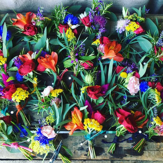 Brightly coloured buttonholes