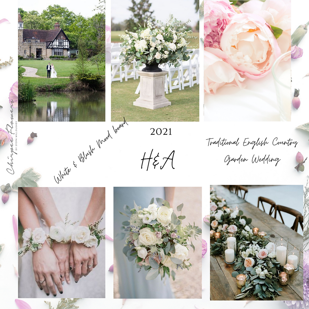 Mood board for a floral wedding