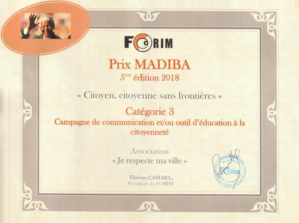 FORIM Prix Madiba Diplome