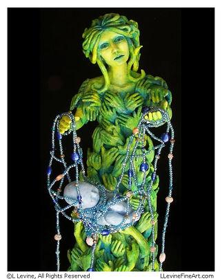 Dream Weaver, Ceramic Clay Sculpture by L. Levine