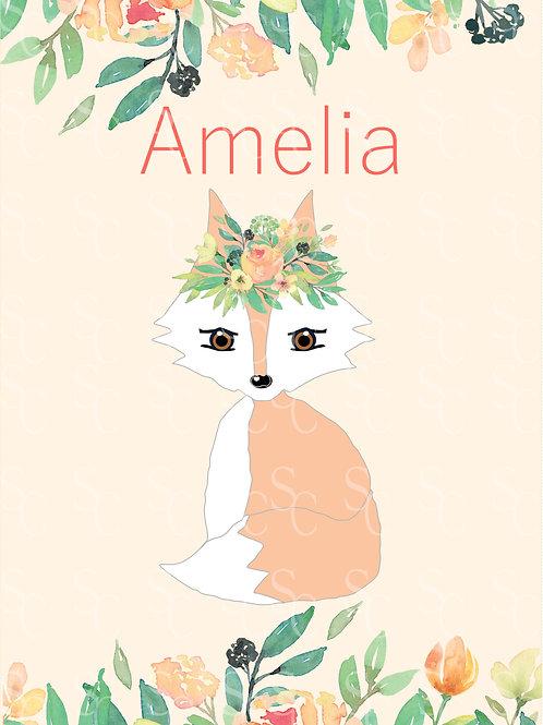 Personalised Amelia Fox Print