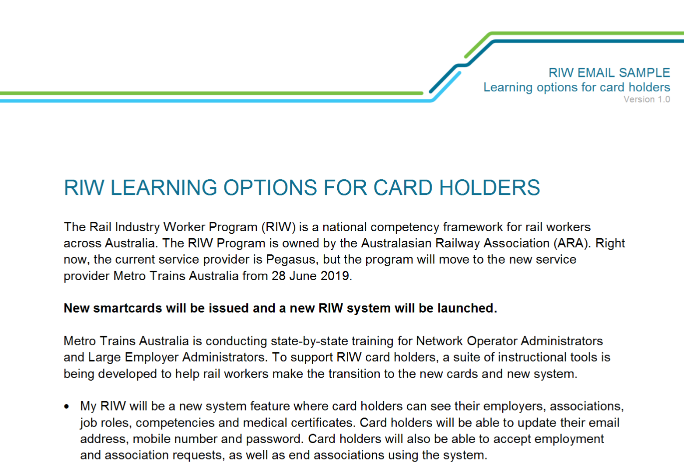 COMMS TOOLKIT | RIW Transition