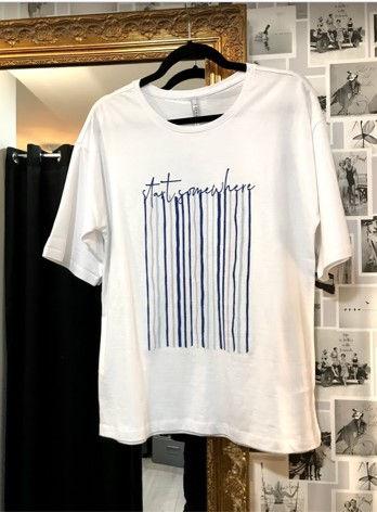 Tee shirt blanc motif bleu photo1.jpg