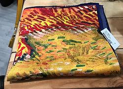 Crré de soie jaune fleurs photo3.jpg