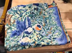 Crré de soie fleur bleu orange photo1.jp